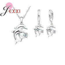 925 Sterling Silver Dolphin CZ Crystal Pendant Necklace and Earring Set Gifts UK