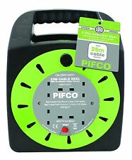 PIFCO 4WAY 25M CABLE EXTENSION REEL LEAD MAINS SOCKET HEAVY DUTY ELECTRICAL