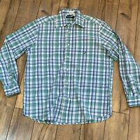 Nautica Plaid Long Sleeve Button Down Shirt Mens Medium Tartan White Green