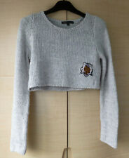 GREY, CROPPED JUMPER - 50% WOOL,  BY MAJE - GOOD COND. - SIZE 1 - ABOUT UK 8-10