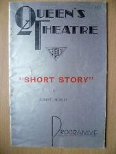1935 Queen's Theatre Programme SHORT STORY Marie Tempest,S Thornike,A E Matthews