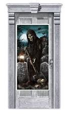 CEMETERY DOOR COVER Halloween Party Decorations Door Graveyard Grim Reaper Scene