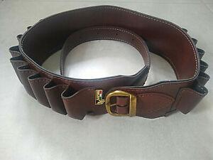 Bisley dark brown PU leather closed loop shotgun cartridge belt (12G)