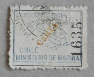 Chile 1907 Official – Marina Oficial – blue – Carta in yellow – Copy n° 1635