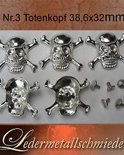 Nr. 3- 5 Stück Totenkopf/Skull 38,5x32x9mm, Schraubnieten,Gothik,Punk,