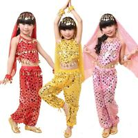 Kids Girls Belly Dance Costume Sparkly Circle Sequin Coins Top & Pants Skirt Set