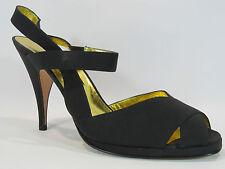 Andrea Pfister Vintage Black Strappy Slingback Heels Size 9  HC