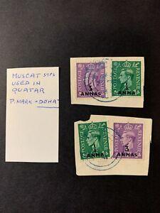 "Oman / Qatar - KGVI Muscat Stamps used in Qatar ""Doha cds"" (03/10)"