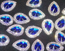 Royal bleu clair sew on jewel 18mm gem cristal strass bordure perle