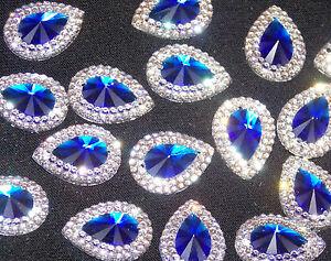 royal blue clear sew On Jewel 18mm GEM CRYSTAL RHINESTONE trim Bead