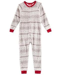 Family PJs Kids Unisex Gray Snowflake One Piece Pajama Holiday Size S (6-7)