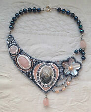 Hand made Necklace with Mother of pearl Cameo and Flower Pink Quartz beadwork