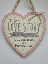 Rustic Shabby Chic Wooden Decorative Hanging Heart