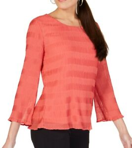 Alfani Women Blouse Spice Red Size XLTextured Pleated Scoop Neck $69 #096