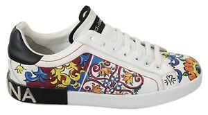 DOLCE & GABBANA Shoes Sneakers White Majolica Leather Logo EU45/US12 RRP $1000