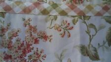 Valance, Bh&G, Red,Gold, Olive, Cream Floral with Plaid Trim, Scalloped