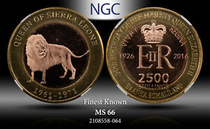 2016 SOMALILAND 2500 SHILLINGS LION NGC MS66 FINEST KNOWN WORLDWIDE