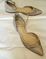 "Isola Women's Shoes Gray Leather Mary Jane Pointed Toe .5"" Heel Size 7.5M"