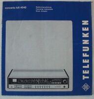 Bedienungsanleitung Telefunken concerto hifi 4040 RVH73-1640/7304-390005  B8279