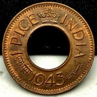 1943-B British India 1 Pice High Grade Bombay Mint High Grade KM# 533