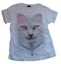 Spiral 'White Magic Cat' white t shirt, official merchandise