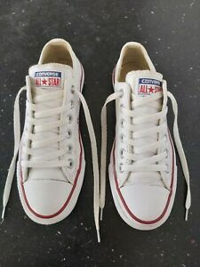 """GENUINE CONVERSE ALL STAR WHITE LEATHER Trainers Size 5 UK """"EXCELLENT CONDITION"""""""