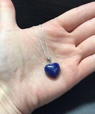 "Lapis Lazuli Sterling Silver 925 Heart Pendant 15mm 18"" Chain Brow Chakra Truth"