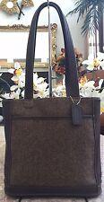 Coach Brown Wool Tweed Leather Tote Shoulder Handbag Purse 6127 EUC