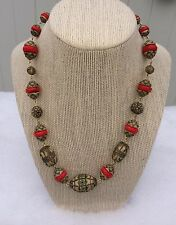Vintage 1930's Czech Molded Glass necklace Neiger Pressed Glass Beads Red Facets