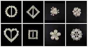 10 Pearl Embellishments or Buckle Ribbon Sliders Diamante Crystals Craft DIY