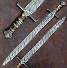 """CUSTOM HAND MADE DAMASCUS STEEL SOWRD 34""""/ ABALONE WITH ROSE WOOD HANDLE"""