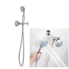 New High Pressure 5 Setting Dual Handheld Shower Head With 60h Long Hose