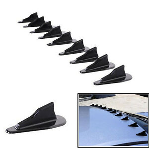 9PCS Universal EVO-Style PP Roof Shark Fins Spoiler Wing Kit Vortex Generator