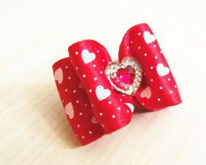 Valentine's Day red bow fur tie with love heart charm for your pet dog or cat