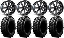 "MSA Black Kore 14"" UTV Wheels 32"" Carnivore Tires Kawasaki Mule Pro FXT"