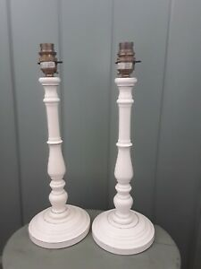 """Pair Of (2) Vintage Laura Ashley Cream Wooden Lamp Bases 14.75"""" Tall"""