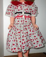 Vintage 40's Toddler Girl Dress 2T? w/ Bloomers White Black Red Textured Fabric