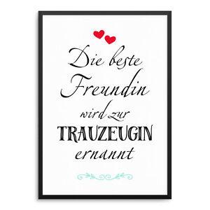 Trauzeugin Freundin Hochzeit Kunstdruck ArtPrint Poster Druck Print Geschenk