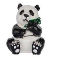 Panda Holding Bamboo Enameled Jeweled Trinket Box Metal Jewelry Case Gift Figure