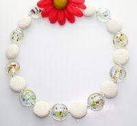 Halskette Kette Lava Scheibe weiß Murano Glas Art rot grün blau gelb bunt  457t