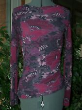 Sweet Pea Mesh Boat Neck Side Ruched Top Shades Pink & Gray L/S Size Medium