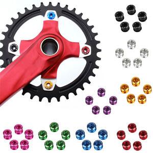 5pcs MTB Bike Single Chainring Bolts Bicycle Crankset Nuts Chainwheel Screws