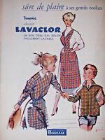 PUBLICITÉ DE PRESSE 1954 FRANÇOISE CHOISI LAVACLOR TISSU BOUSSAC - ADVERTISING