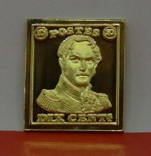 Modern Gold plated 8.6g Silver Stamp Ingot Belgium Belgian Leopold I 10c 1849