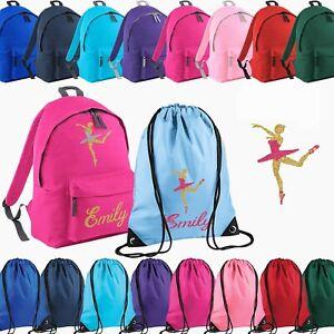 Personalised School Bag , Vinyl Rucksack, Backpack, PE Bag, Kit Bag | Ballerina