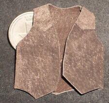 Dollhouse Miniature Western Cowboy Brown Suede Leather Vest, New 1:12 Prestige