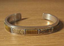 Inlay Cuff Bracelet .925 Sterling Silver Navajo Signed WG Tiger Eye Jasper Opal