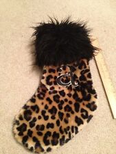 Cheetah xmas christmas stocking gently used Letter A
