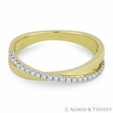 in 14k Yellow & White Gold 0.15ct Diamond Right-Hand Overlap Stackable Ring Band