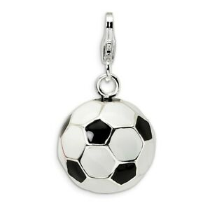Soccer Ball Charm 3D Enameled .925 Sterling Silver Click On Amore La Vita